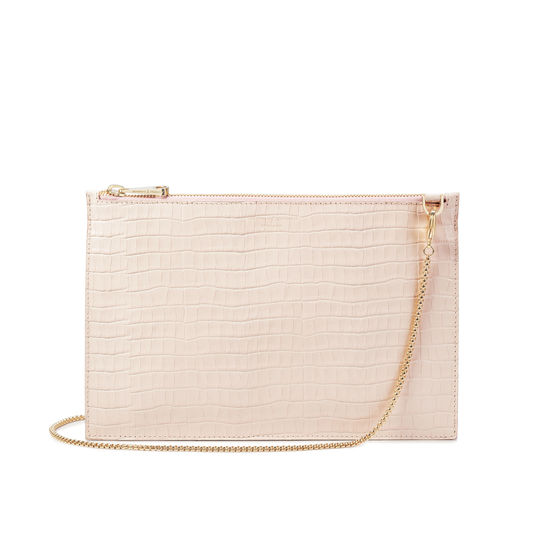 Soho Bag in Deep Shine Shell Pink Small Croc from Aspinal of London