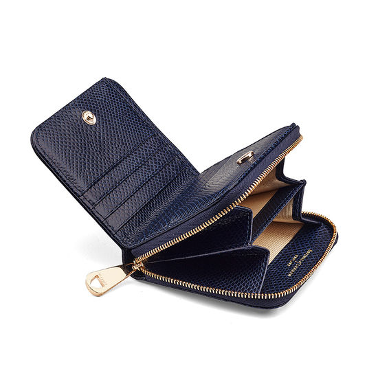 Mini Continental Zipped Coin Purse in Midnight Blue Lizard from Aspinal of London