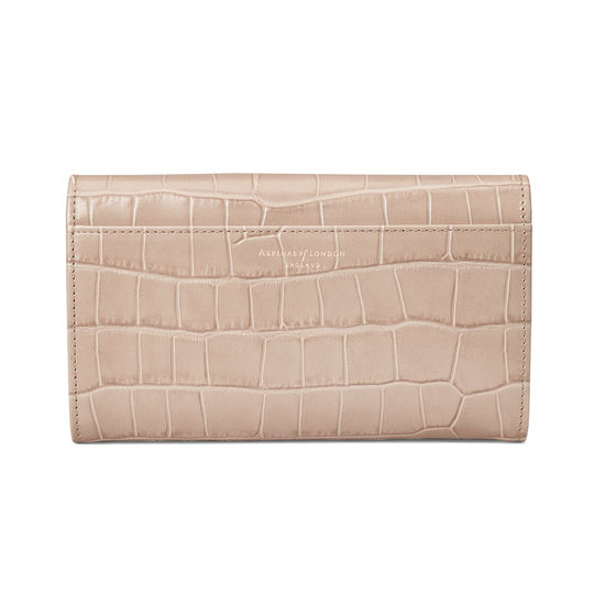 Mayfair Purse in Deep Shine Soft Taupe Croc from Aspinal of London