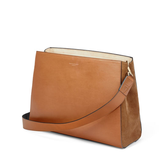 Large Ella Hobo in Smooth Tan with Black & Tan Strap from Aspinal of London