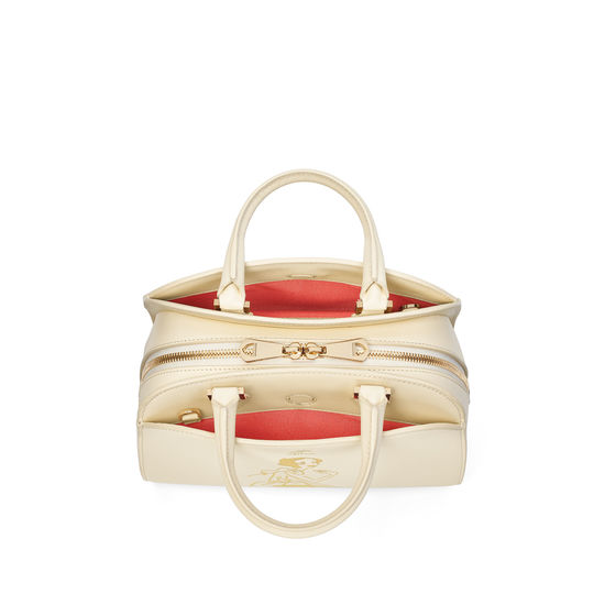 Giles x Aspinal (Mini Hepburn Bag - Smooth Ivory) from Aspinal of London