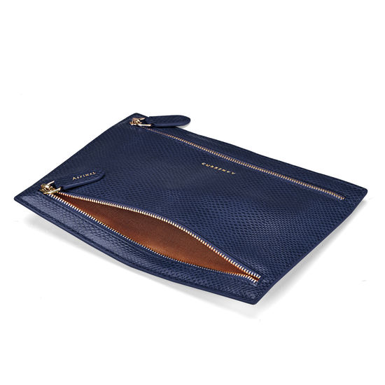 Multi Currency Wallet in Midnight Blue Lizard from Aspinal of London