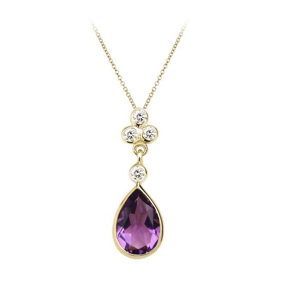 Aphrodite Teardrop Amethyst & Diamond Pendant Necklace from Aspinal of London