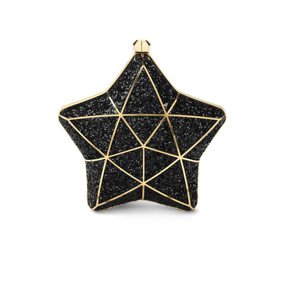Star Clutch in Black Glitter from Aspinal of London