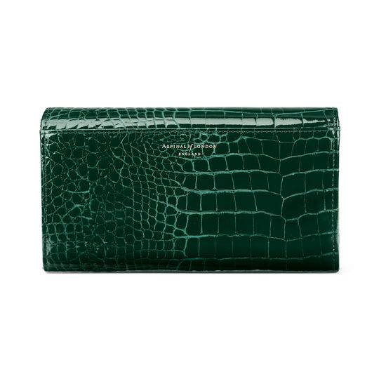 Mayfair Purse in Evergreen Patent Croc from Aspinal of London