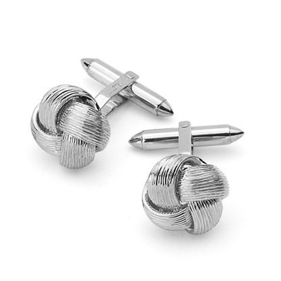 Sterling Silver Fine Wire Knot Cufflinks from Aspinal of London