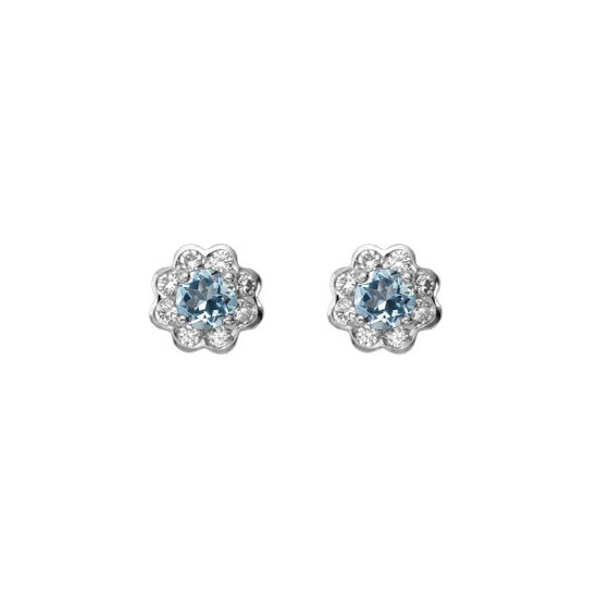 Debutante Aquamarine & Diamond Stud Earrings from Aspinal of London
