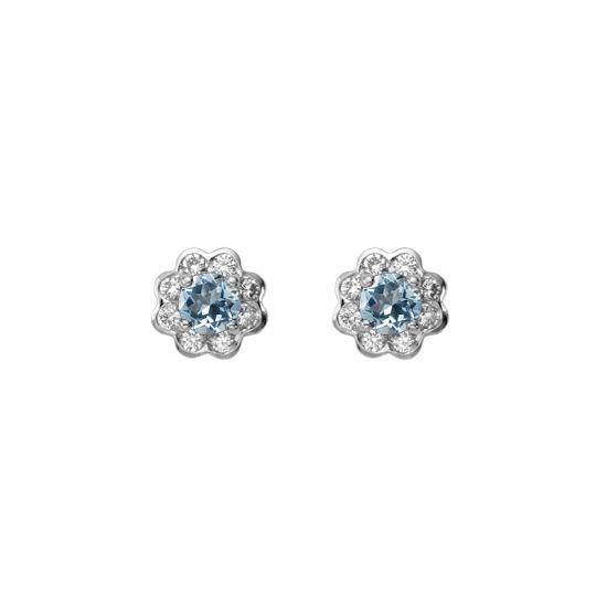 Debutante Aquamarine & Diamond Stud Earrings from Aspinal of London