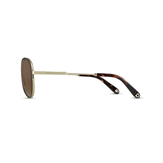 Portofino Sunglasses in Gold Metal & Tortoiseshell Acetate from Aspinal of London