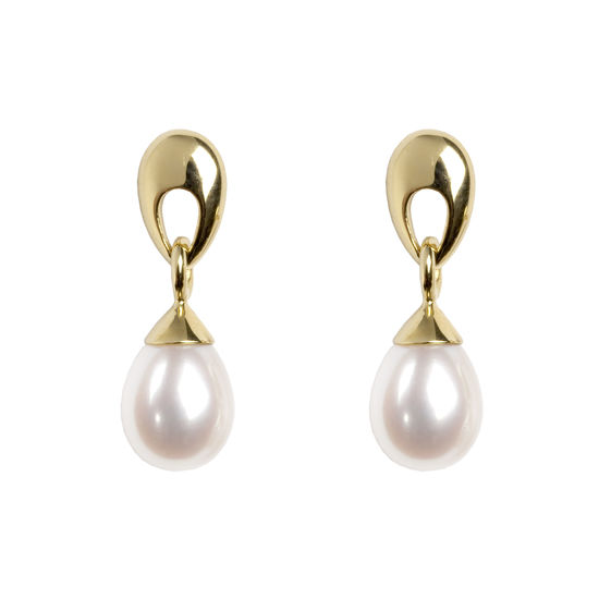 Hampton Teardrop Pearl Earrings in 18ct Yellow Gold from Aspinal of London