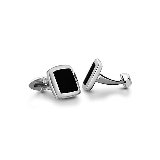 Sterling Silver & Onyx Square Cufflinks from Aspinal of London