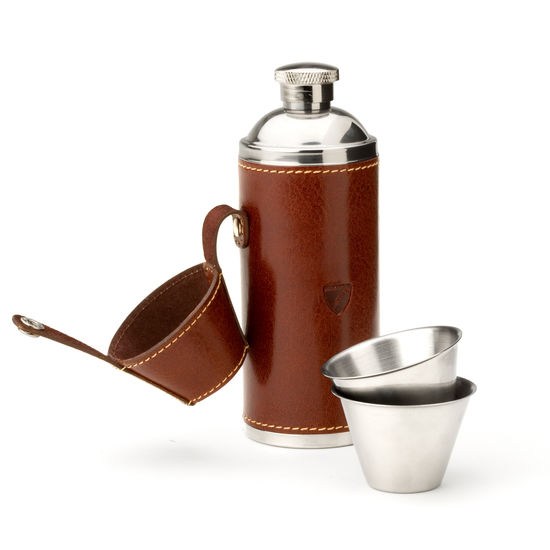 Hunter 8oz Leather Hip Flask in Smooth Cognac & Espresso Suede from Aspinal of London