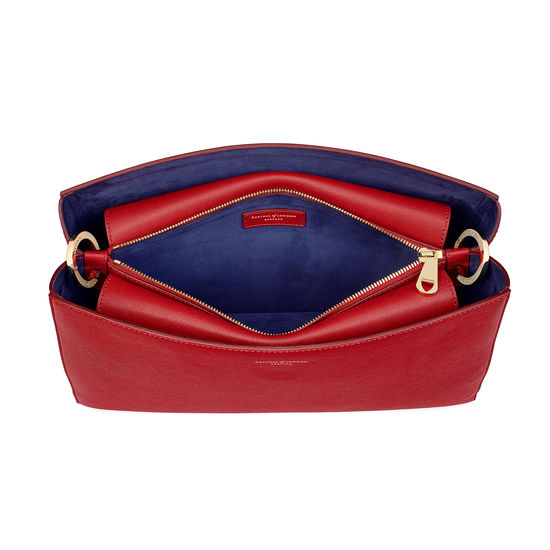 Large Ella Hobo in Scarlet Saffiano with Scarlet & Navy Strap from Aspinal of London