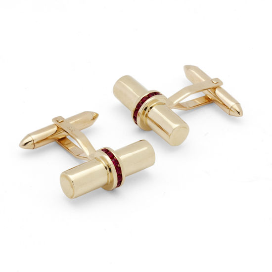 Silky Barrel Cufflinks Gemset with Cluster Rubies in 9ct Yellow Gold from Aspinal of London