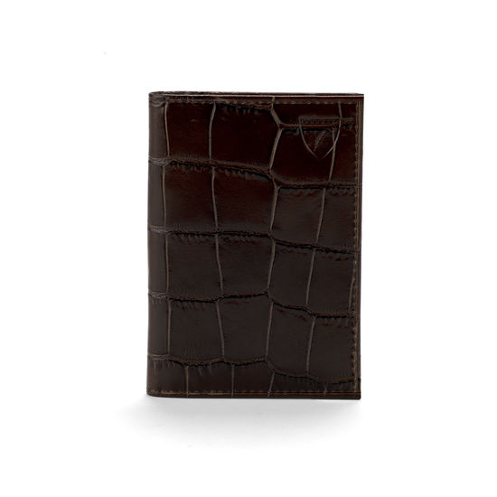 Double Fold Credit Card Case in Deep Shine Amazon Brown Croc from Aspinal of London