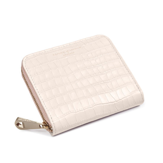 Slim Mini Continental Purse in Deep Shine Shell Pink Small Croc from Aspinal of London
