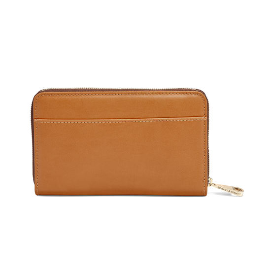 Midi Continental Clutch Zip Wallet in Smooth Tan from Aspinal of London