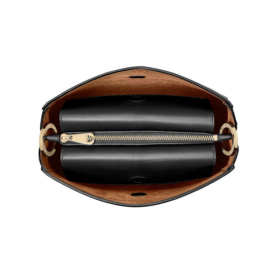 Small Ella Hobo in Black Pebble with Black & Tan Strap from Aspinal of London
