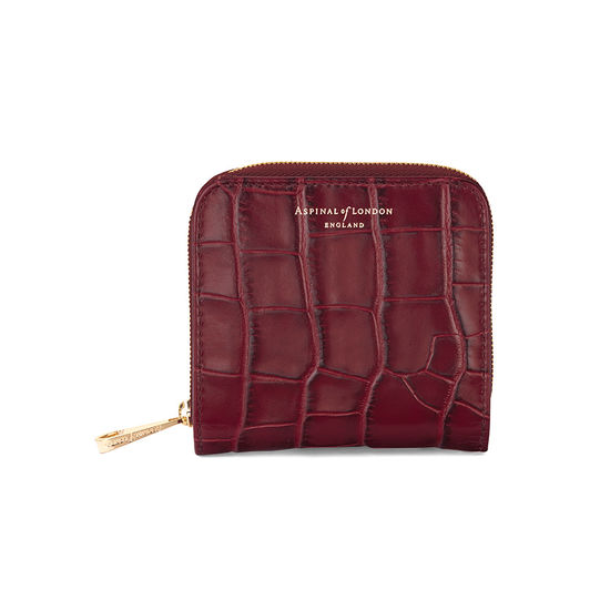 Mini Continental Zipped Coin Purse in Deep Shine Bordeaux Croc from Aspinal of London