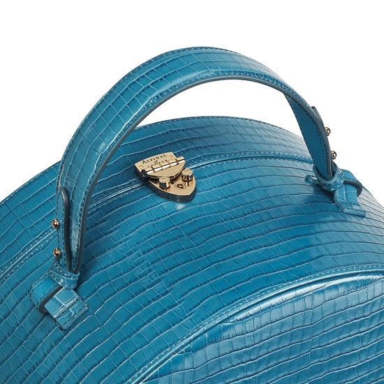 Travelling Hat Box in Deep Shine Topaz Small Croc from Aspinal of London