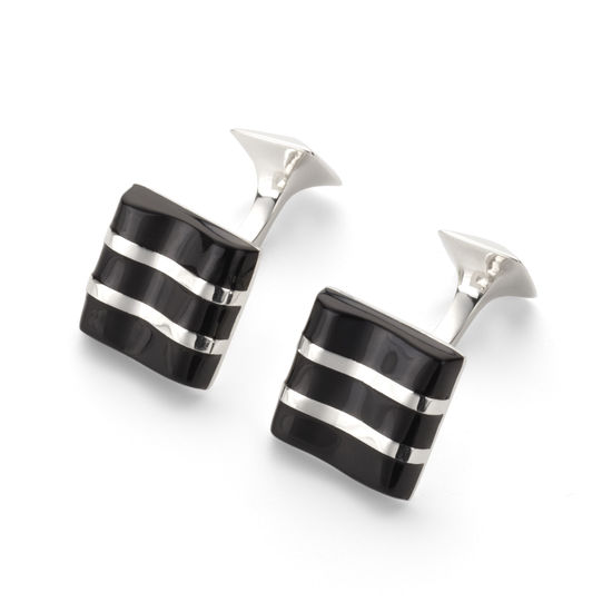 Wave Sterling Silver & Onyx Cufflinks from Aspinal of London