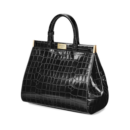 Large Florence Snap Bag in Deep Shine Black Croc from Aspinal of London
