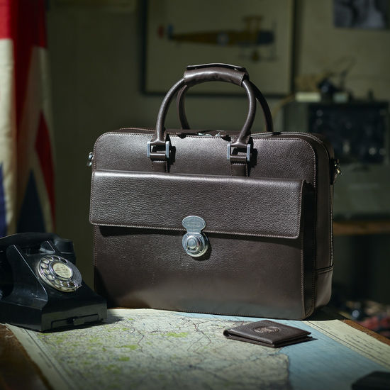 Aerodrome Business Bag in Dark Brown Pebble from Aspinal of London