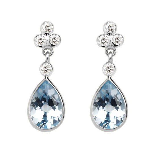 Aphrodite Teardrop Aquamarine & Diamond Earrings from Aspinal of London