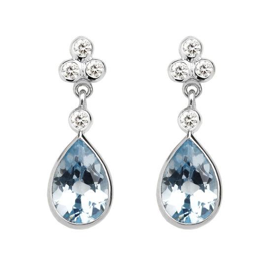 Aphrodite Teardrop Aquamarine & Diamond Earrings from Aspinal of London