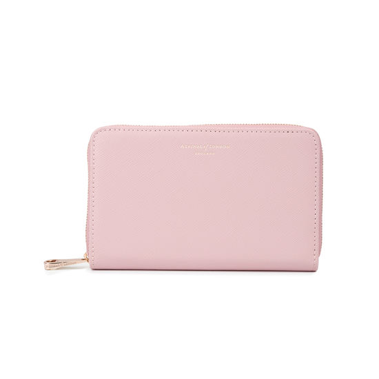Midi Continental Clutch Zip Wallet in Peony Saffiano from Aspinal of London