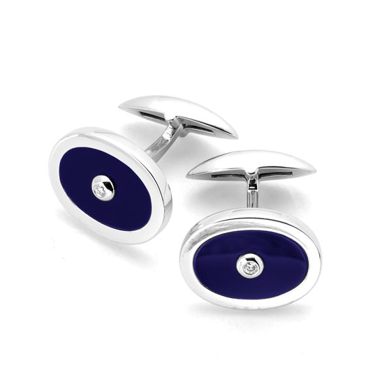Sterling Silver Blue Lapis & Diamond Oval Cufflinks from Aspinal of London