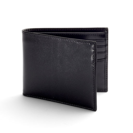 8 Card Billfold Wallet in Smooth Black & Black Suede from Aspinal of London