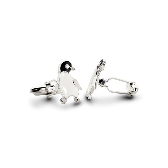 Sterling Silver & Enamel Penguin Cufflinks from Aspinal of London