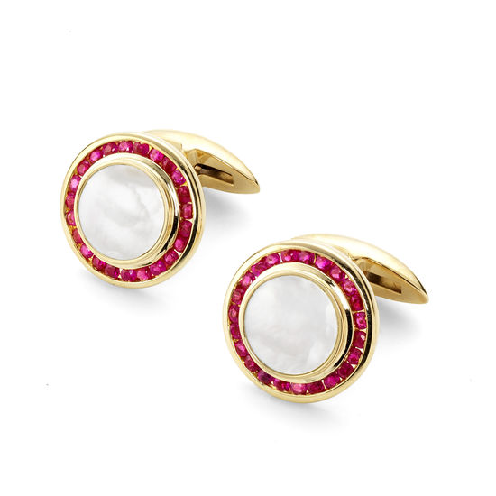 Round Mother of Pearl Cufflinks Gemset with Cluster Rubies in 9ct. Yellow Gold from Aspinal of London
