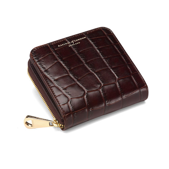 Mini Continental Zipped Coin Purse in Deep Shine Amazon Brown Croc from Aspinal of London