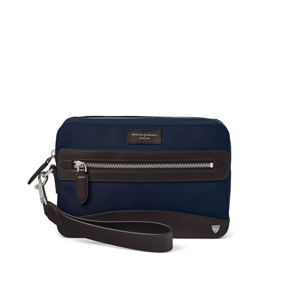 Anderson Cash Bag in Navy Nylon & Smooth Chocolate Leather Trim from Aspinal of London