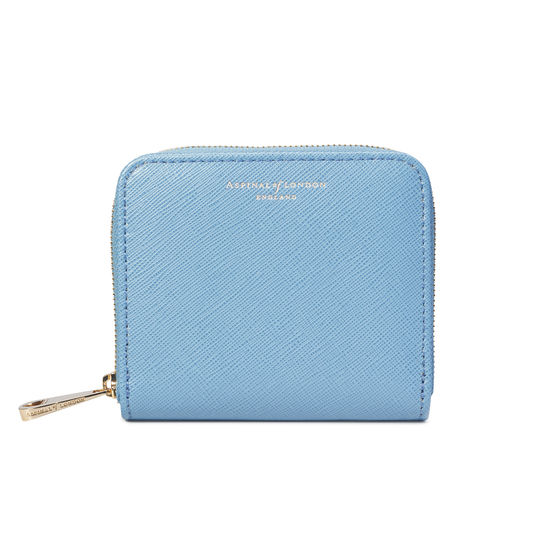Slim Mini Continental Purse in Bluebird Saffiano from Aspinal of London