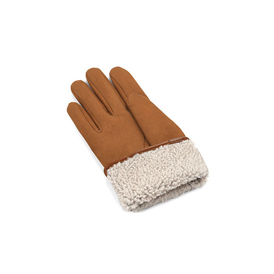 Ladies' Sheepskin Lined Suede Gloves in Tan Suede from Aspinal of London