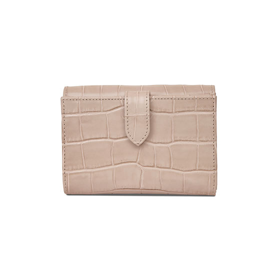 Small Mayfair Purse in Deep Shine Soft Taupe Small Croc from Aspinal of London