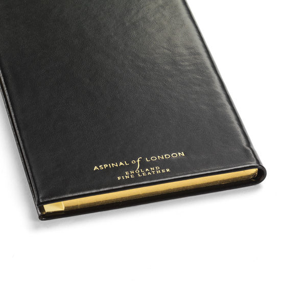 Classic Slim Pocket Address Book in Smooth Black from Aspinal of London