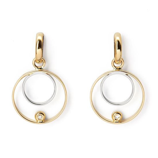 Ariana 18ct White & Yellow Gold Double Ring Diamond Earrings from Aspinal of London