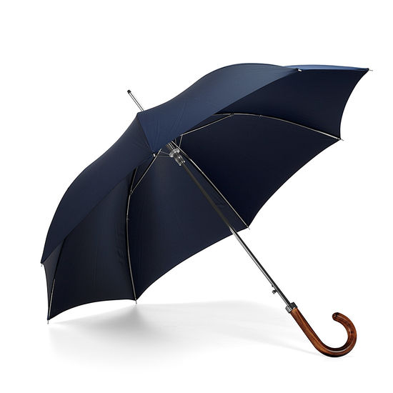 Walking Length Automatic Umbrella with Maple Wood Handle in Navy Blue from Aspinal of London