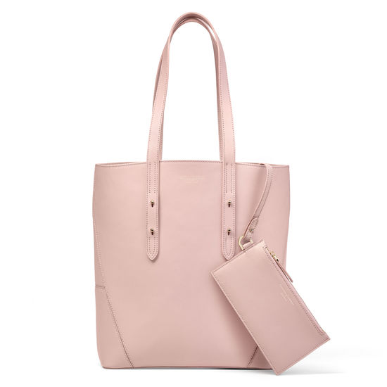 Essential Tote in Peony Saffiano (with A-Stitched Side Panels) from Aspinal of London