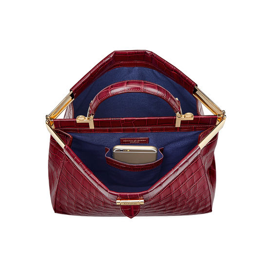 Small Florence Frame Bag in Bordeaux Croc from Aspinal of London