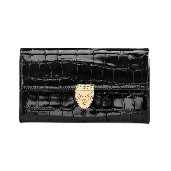 Mayfair Purse in Deep Shine Black Croc from Aspinal of London