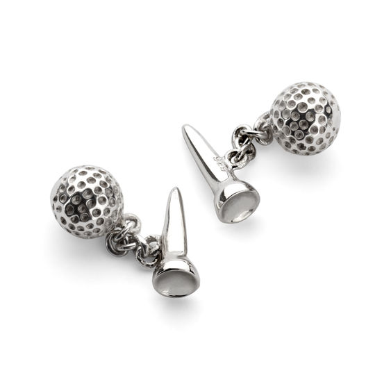 Sterling Silver Golf Ball & Tee Cufflinks from Aspinal of London
