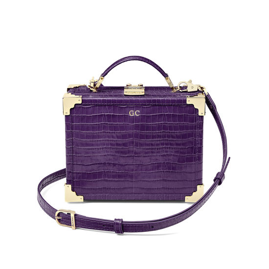 Mini Trunk Clutch in Deep Shine Amethyst Small Croc from Aspinal of London