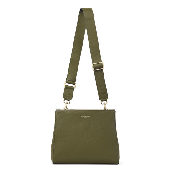 Small Ella Hobo in Olive Pebble & Suede with Plain Strap from Aspinal of London