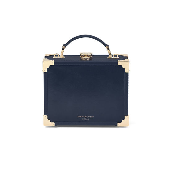 Mini Trunk Clutch in Navy Beaded from Aspinal of London