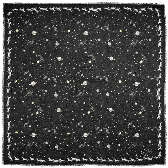 Pegasus Constellation Cashmere Blend Scarf in Black (55
